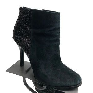 BCBG black suede sequined stiletto boots sz 8 1/2